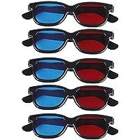 ZORBES 5 Pair Adult Plastics Red/Blue 3D Glasses Anaglyph Glasses,Black