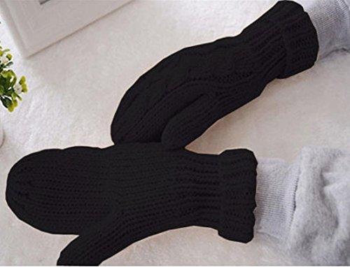 1-Set (1 Pair) Superb Popular Women's Warm Gloves Wrist Decoration Thermal Decor Soft Feeling Colors Black