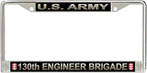 JR Studio US Army 130th Engineer Brigade Military Veteran Stainless Steel Car Truck License Plate Frame Car Tag Holder ()