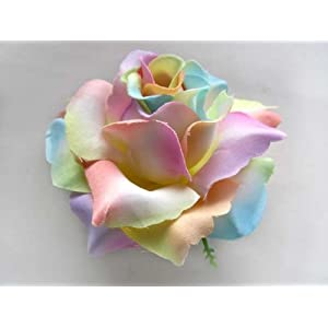 "(4) BIG Light Rainbow Silk Roses Flower Head - 3.75"" - Artificial Flowers Heads Fabric Floral Supplies Wholesale Lot for Wedding Flowers Accessories Make Bridal Hair Clips Headbands Dress 31"