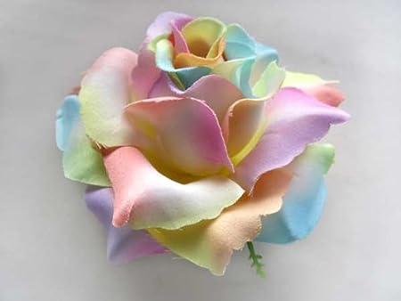 2 big light rainbow roses silk flower head 375 artificial 2 big light rainbow roses silk flower head 375quot artificial flowers mightylinksfo