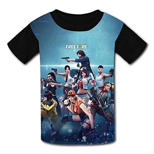 TTART Black Raglan T-Shirts, Free-Fire Short Sleeve Sports Sweat Tee for Teen Kids Boys Girls