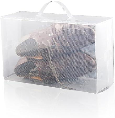 Accessotech 5 x Plástico Transparente Zapatos Hombre Cajas De Almacenamiento Contenedores Zapatillas Números 42,5; 44; 45 11: Amazon.es: Hogar
