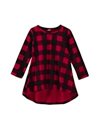 LNGRY Toddler Infant Kids Baby Girls Plaid Print Dress Outfits Clothes Dress