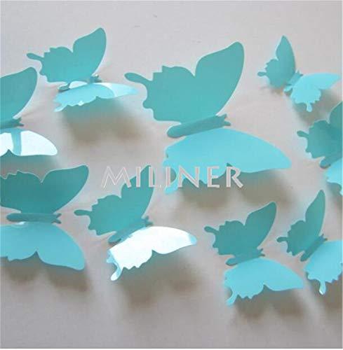 12Pcs PVC 3D Butterfly Wall Decor Cute Butterflies Wall Stickers Art Decals Home Decoration Room Wall Art Light Sky Blue (Grandfather Clock Blue)