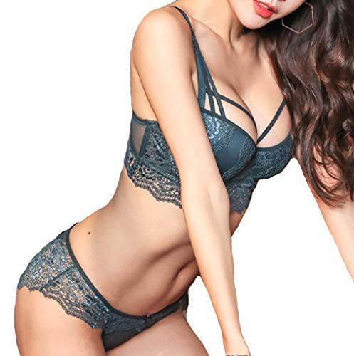 (Mscoreray Push up Padded Bras Underwire Lace Bra and Panty Set Sexy,36B,Green )