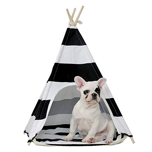 little dove Pet Teepee Dog House Toy Tent Dog Bed 24 Inch Black and White Strip Style 24 Inch No Cushion