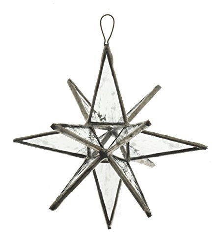 Stained Glass Moravian Star - Clear Glass Star, Moravian Stained Glass Star, Twelve Pointed Star, SMALL : 3.5