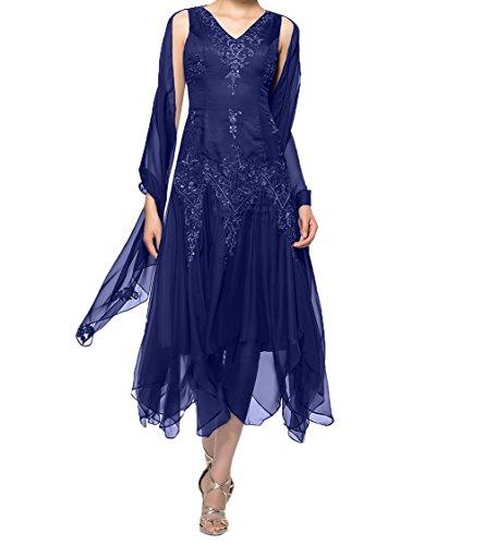 Charmant Royal Brautmutterkleider Mit Chiffon Stola Asymettrisch Damen Dunkel Promkleider Abendkleider Partykleider Blau Wadenlang rpZrSq