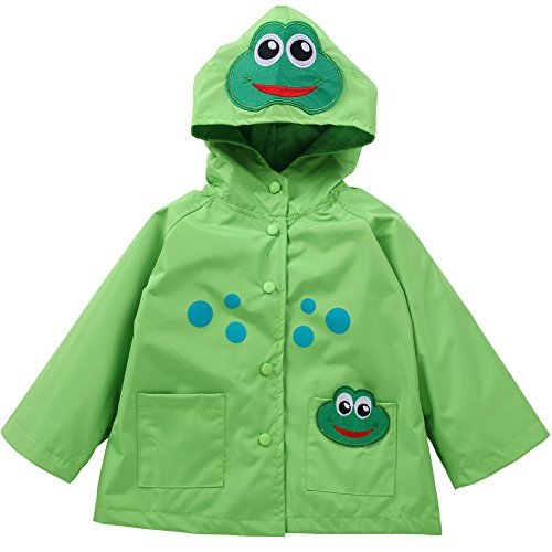 (LZH Toddler Rain Jacket Girls Boys Raincoat Waterproof Hooded Bomber Coat Green 6(For Age)