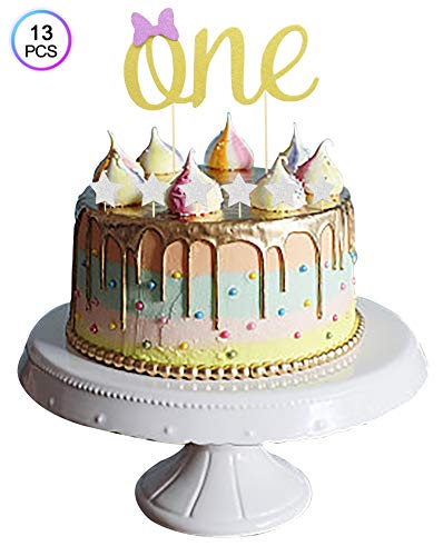 ZOIN ONE Cake Topper Baby 1st Birthday Decoration Double Sided Gold Glitter Card Stock Paper and 12Pcs Silver Stars Set of 13 (Gold silver) ()