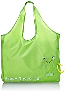 Reusable Shopping Tote Bag - Folded into a Frog - Green