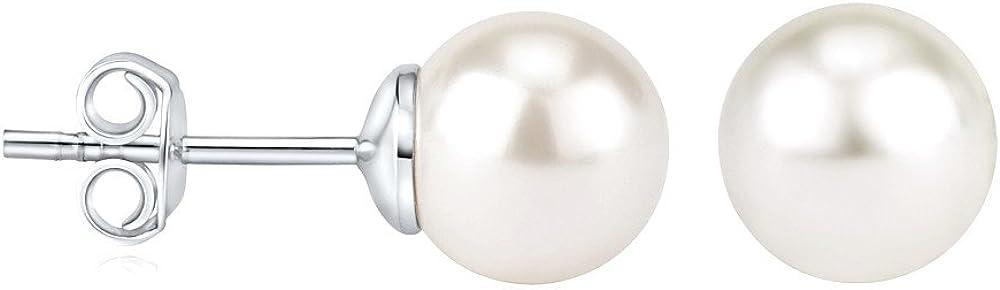 SILVEGO Pendientes Perla Blanca Swarovski® Plata 925 Cierre Presión