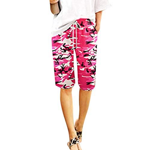 (Womens Casual Shorts, Camouflage Bermuda Elastic Drawstring Shorts Summer Straight Leg Midi Pants Loose Short Pants (M, Pink))