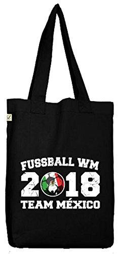 ShirtStreet Mexiko Fußball WM Fanfest Gruppen Bio Baumwoll Jutebeutel Stoffbeutel Team Mexico Black
