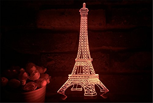 Funplaza 3D LED Eiffel Tower Button Touch Switch ABS Base...