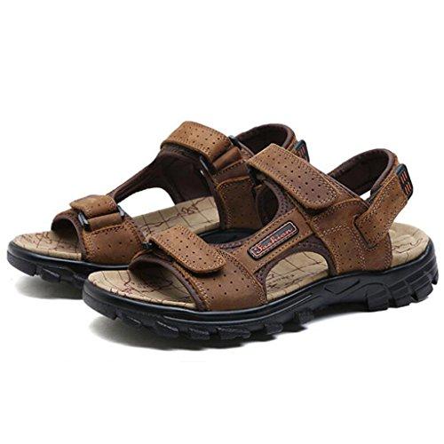 GAOLIXIA Sandalias respirables de cuero real de los hombres Zapatos ocasionales de los deportes de verano Zapatos de playa al aire libre Zapatos corrientes ligeros Zapatos de senderismo ( Color : Marrón , tamaño : 40 )