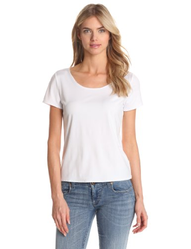 Notations Women's Solid Nylon Spandex Short Sleeve Top, White, X-Large