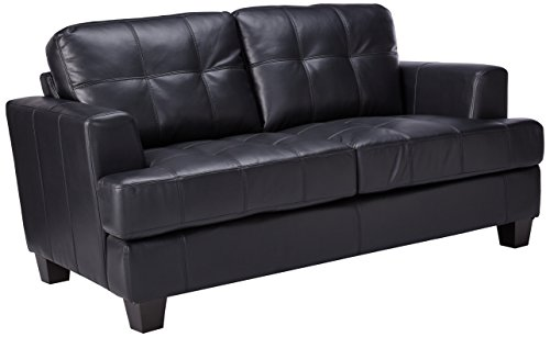 Coaster Samuel Black Loveseat Samuel Black Bonded Leather