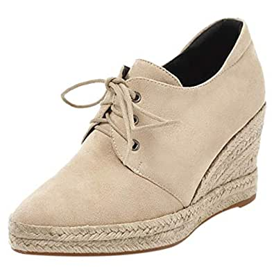 MisaKinsa Women Fashion Spring Shoes Lace Up Wedge Heels Pumps Party Heels Shoes Pointed Toe Weaving Beige Size 33