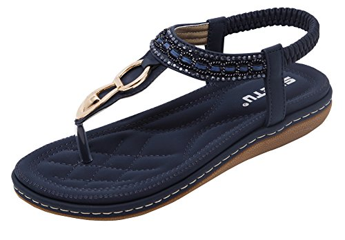 Vocni Bohemian Sandals, Women's Summer Bohemia Style Clip Toe Sandals Metal Flat Sandals Flip Flops Shoes with Beads Elastic T-Strap Flat Slippers Thongs Beach Shoes for Women and Girls Blue