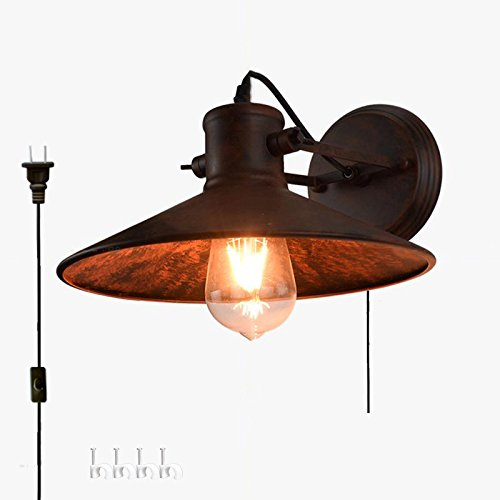 kiven vintage wall light e26 base plug in ul listed 6 Foot black Cord(BD0439) (Plans Outdoor Coffee Table)