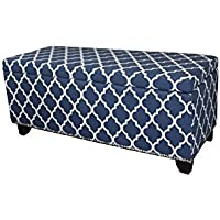 Ore International HB4670 18 Diagonal Moroccan Stripes Denim Blue Storage Bench