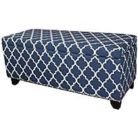 Ore International HB4670 18 Diagonal Moroccan Stripes Denim Blue Storage Bench