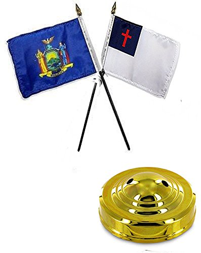 (ALBATROS State New York with Christian 4 inch x 6 inch Flag Desk Set Table Stick with Gold Base for Home and Parades, Official Party, All Weather Indoors)