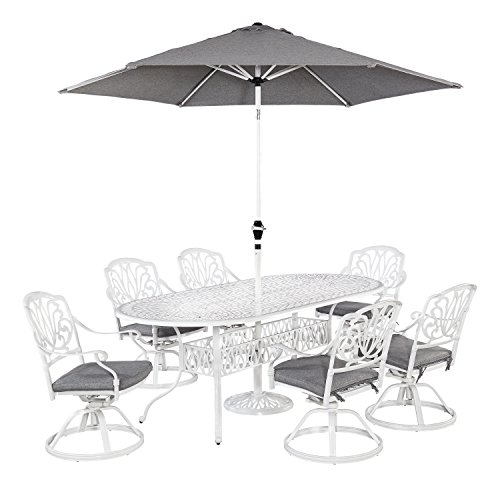Home Styles 5562-3456 7 Piece Floral Blossom Dining Set with Oval Table, Six Swivel Chairs and Umbrella
