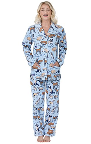 Dog Print Pajama - PajamaGram Women's Dog Tired Flannel Boyfriend Pajamas, Blue, SML (4-6)