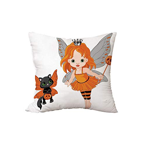 iPrint Polyester Throw Pillow Cushion,Halloween,Halloween Baby Fairy and Her Cat in Costumes Butterflies Girls Kids Room Decor Decorative,Multicolor,15.7x15.7Inches,for Sofa Bedroom Car Decorate for $<!--$21.89-->