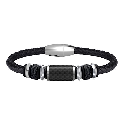 COOLMAN Leather Bracelet for Men Stainless Steel Braided Cuff Bracelet with Carbon Fiber Bead Magnetic Clasp 8.5 inch (Black) (Carbon Bracelets Fiber)