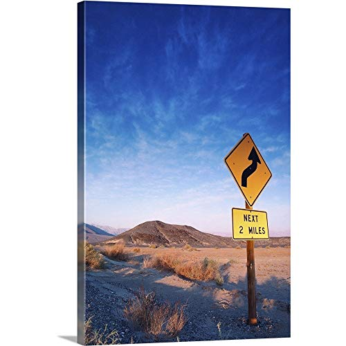 GREATBIGCANVAS Gallery-Wrapped Canvas Sign on The Death Valley Road in Sunset by 12