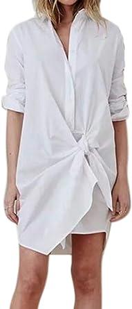 Vestido de Camisa de diseño con Cordones de Manga Larga para Mujer, Moda Simple Camisa Blanca Larga: Amazon.es: Ropa y accesorios