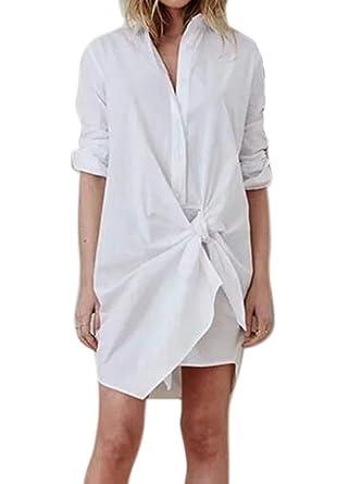 Vestido de Camisa de diseño con Cordones de Manga Larga para Mujer ...