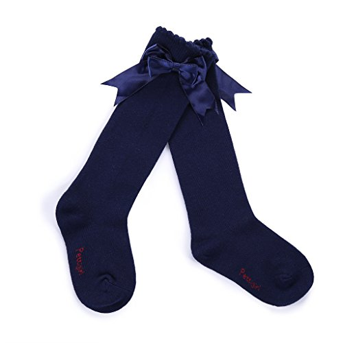 Pettigirl Girls Stretch Handmade Knee High Bow Socks Boutique Navy, 5years (Navy Blue Knee High Socks With Bows)
