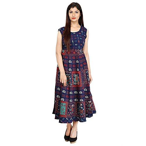 Monique Brand Women's Cotton Rajasthani Jaipuri Printed Maternity Summer Long Gown anarkali Midi Maxi Dress (MQ-MD-BIGELE-NB15, Navy Blue, Free Size, Up to44XL)