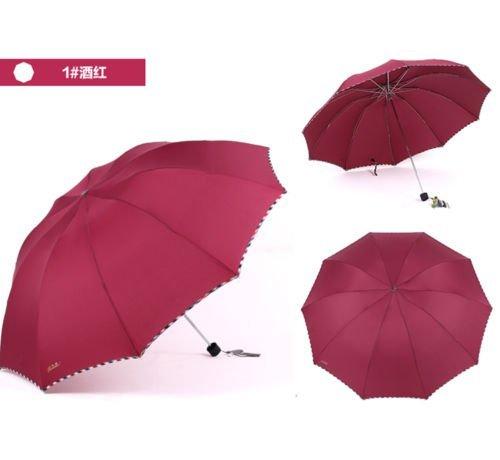 Red Fold Umbrella Mens Womens Rain Umbrella Windproof Anti-Uv Parasol by Umbrella Compact