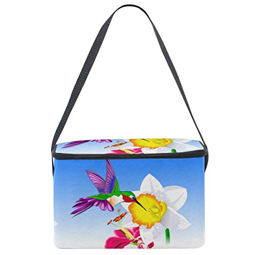 WIHVE Insulated Cooler Lunch Bag Hummingbird Lily Narcissus Flowers Lunch Tote Box for School Work Picnic