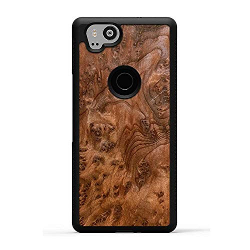Pixel 2 Redwood Burl Wood Traveler Protective Case by Carved, Unique Real Wooden Phone Cover (Rubber Bumper, Fits Google Pixel 2)