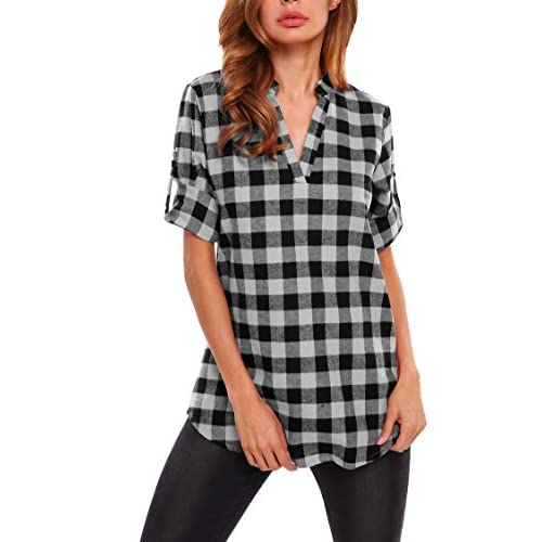 Top Fanala Womens Casual 3/4 Cuffed Sleeve V-Neck Plaid Shirts Pullover Tunic Top hot sale