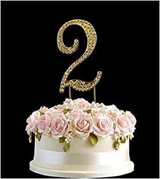 Rhinestone Gold Crystal Birthday Anniversary Cake Topper Number Pick
