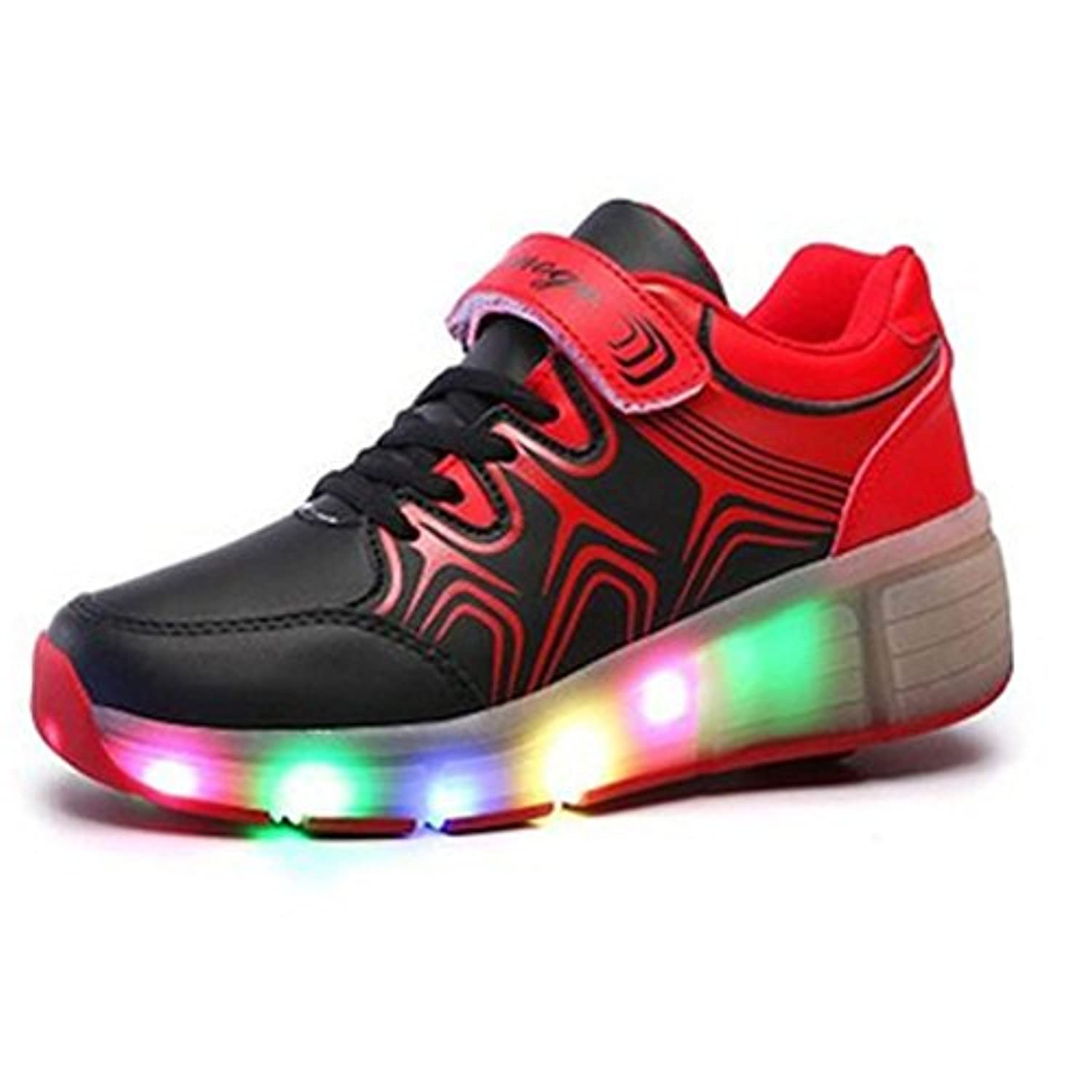 SGoodshoes Kids LED Light Sneakers Luminous Trainers Roller Skate Flying Shoes With A Wheel Adult Flashing Shoes