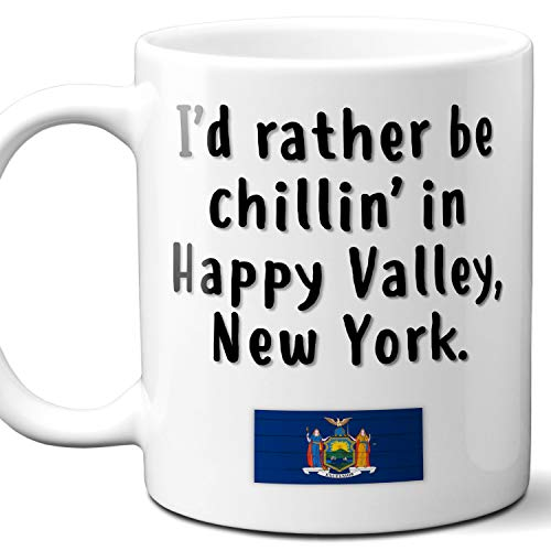 """Happy Valley New York Coffee Mug Souvenir Gift.""""Chillin In"""" With NY Flag. 11 Ounces."""