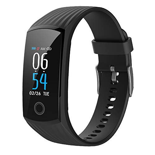 2019 Color Screen H6 Smartwatch for Men Women Waterproof Sports Watch Smart Wristband with Heart Rate Blood Pressure Monitor Fitness Activity Tracker for Running Compatible for Android iOS Black