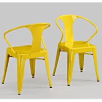 Modern Tabouret Lemon Yellow Metal Stacking Dining Chairs (Set of 4)