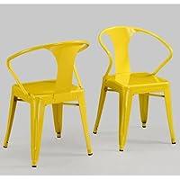 Modern Tabouret Lemon Yellow Metal Stacking Dining Chairs (Set of 4)