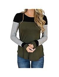 Realdo Clearance Women O-Neck Long Sleeve Blouse T-Shirt Contrast Color Tops
