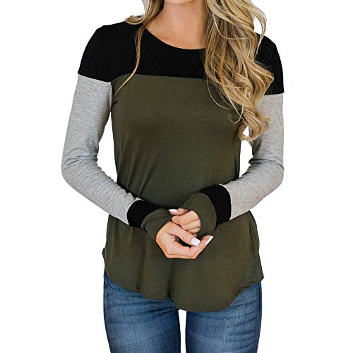(Liraly Shirts for Women Womens Patchwork Long Sleeve Blouse T-Shirt Autumn Holiday Tops Casual Shirt Blouse (US-8 /CN-L,Green))